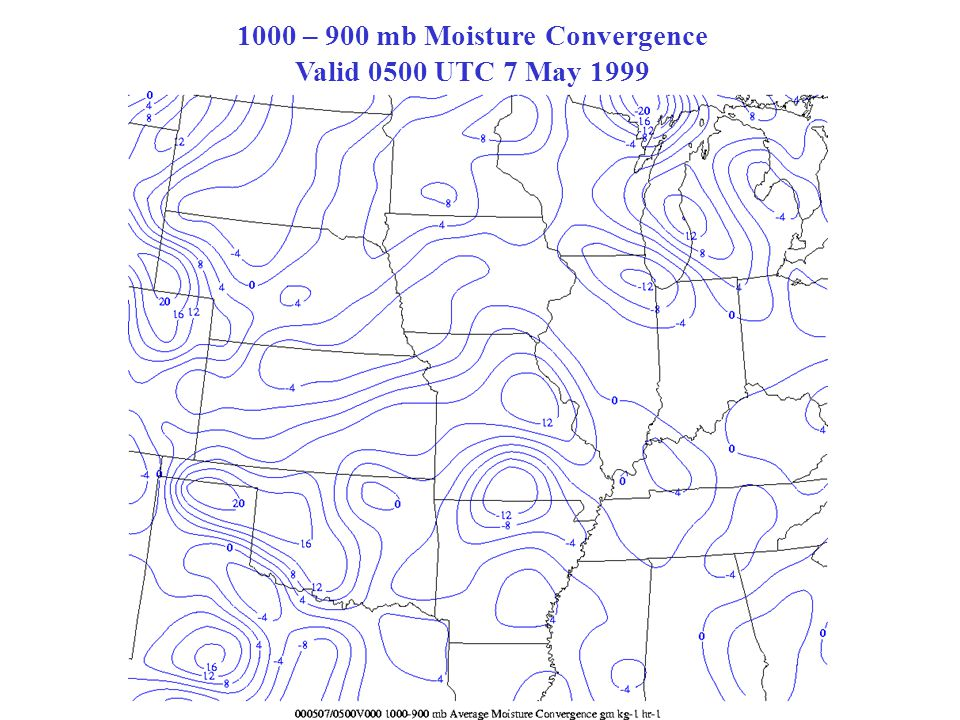 1000 – 900 mb Moisture Convergence Valid 0500 UTC 7 May 1999