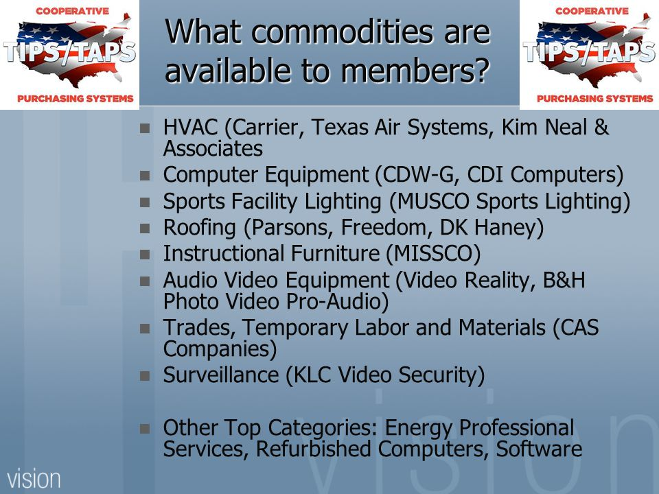 What commodities are available to members.