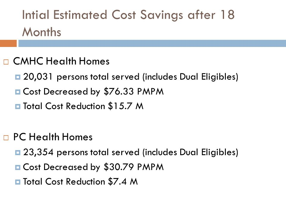 Intial Estimated Cost Savings after 18 Months  CMHC Health Homes  20,031 persons total served (includes Dual Eligibles)  Cost Decreased by $76.33 PMPM  Total Cost Reduction $15.7 M  PC Health Homes  23,354 persons total served (includes Dual Eligibles)  Cost Decreased by $30.79 PMPM  Total Cost Reduction $7.4 M