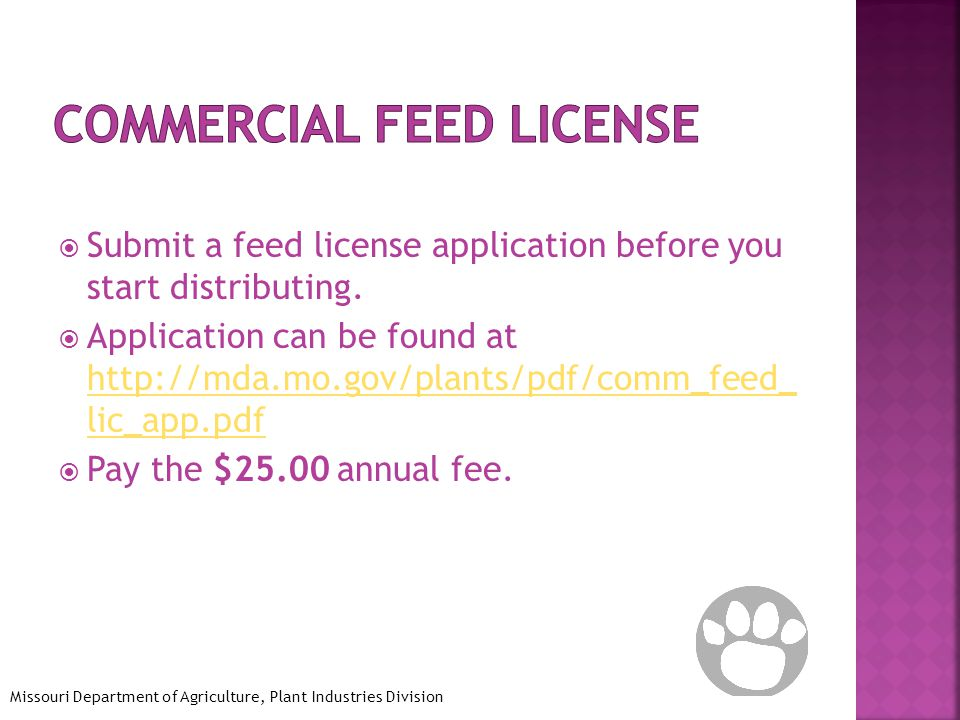  Submit a feed license application before you start distributing.