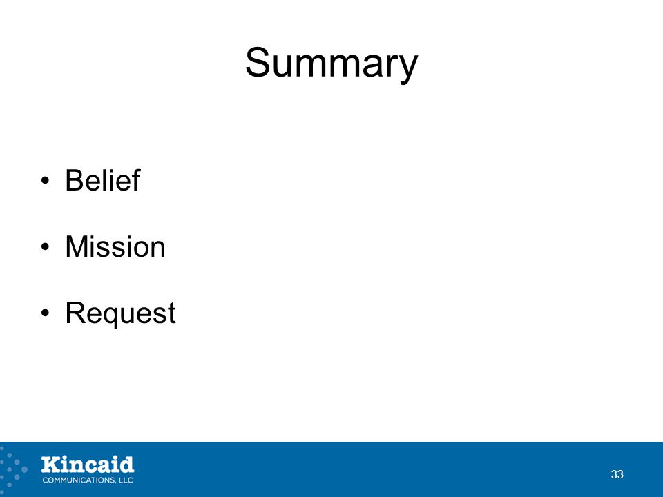 Summary Belief Mission Request 33
