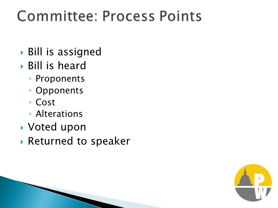  Bill is assigned  Bill is heard ◦ Proponents ◦ Opponents ◦ Cost ◦ Alterations  Voted upon  Returned to speaker