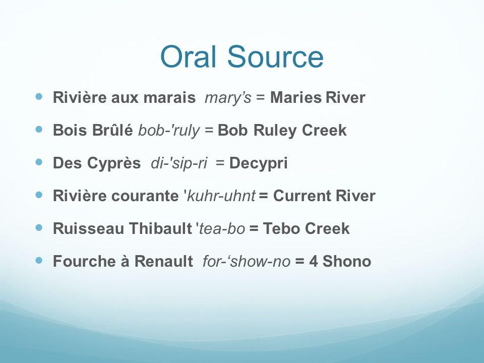 Oral Source Rivière aux marais mary's = Maries River Bois Brûlé bob-'ruly = Bob Ruley Creek Des Cyprès di-'sip-ri = Decypri Rivière courante 'kuhr-uhn