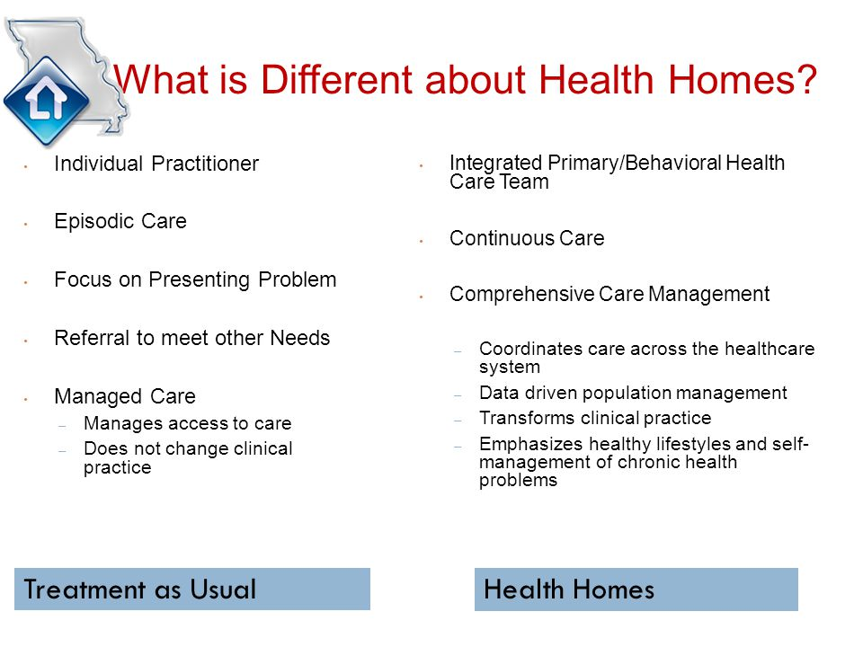 Treatment as UsualHealth Homes What is Different about Health Homes.
