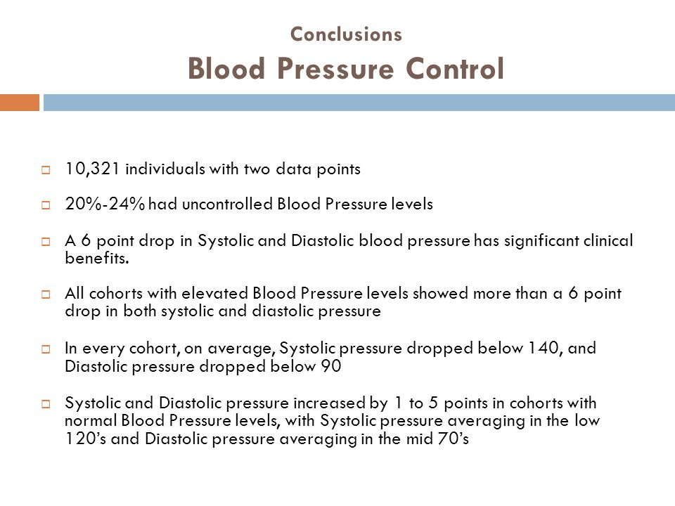 Conclusions Blood Pressure Control  10,321 individuals with two data points  20%-24% had uncontrolled Blood Pressure levels  A 6 point drop in Systolic and Diastolic blood pressure has significant clinical benefits.