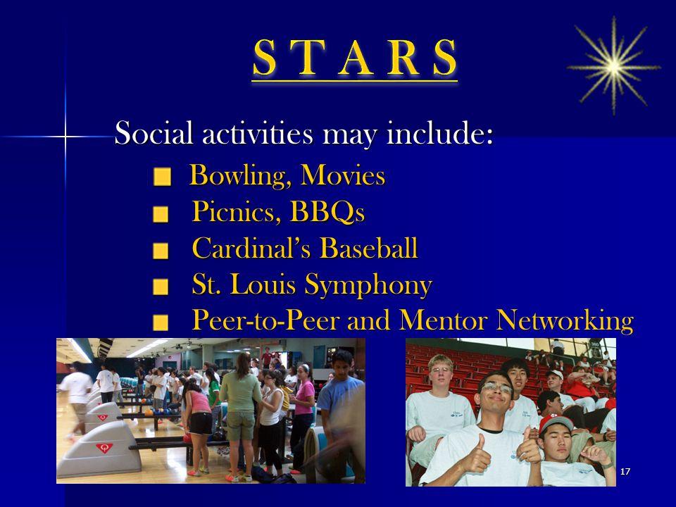 Social activities may include: Bowling, Movies Bowling, Movies Picnics, BBQs Picnics, BBQs Cardinal's Baseball Cardinal's Baseball St. Louis Symphony