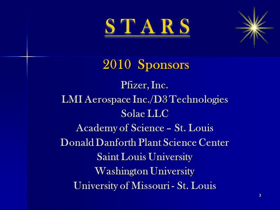 2010 Sponsors 2010 Sponsors Pfizer, Inc. LMI Aerospace Inc./D3 Technologies Solae LLC Academy of Science – St. Louis Donald Danforth Plant Science Cen