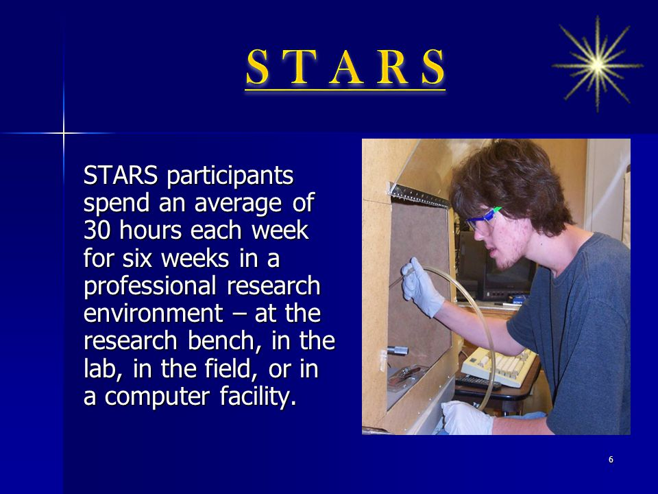 STARS participants spend an average of 30 hours each week for six weeks in a professional research environment – at the research bench, in the lab, in the field, or in a computer facility.