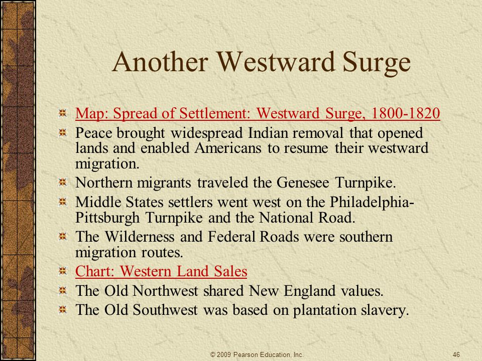 Another Westward Surge Map: Spread of Settlement: Westward Surge, 1800-1820 Peace brought widespread Indian removal that opened lands and enabled Amer