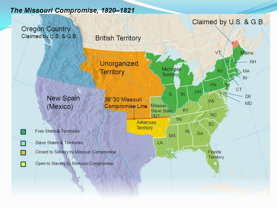The Missouri Compromise, 1820–1821 Oregon Country Claimed by U.S. & G.B. Unorganized Territory Arkansas Territory 36°30' Missouri Compromise Line New