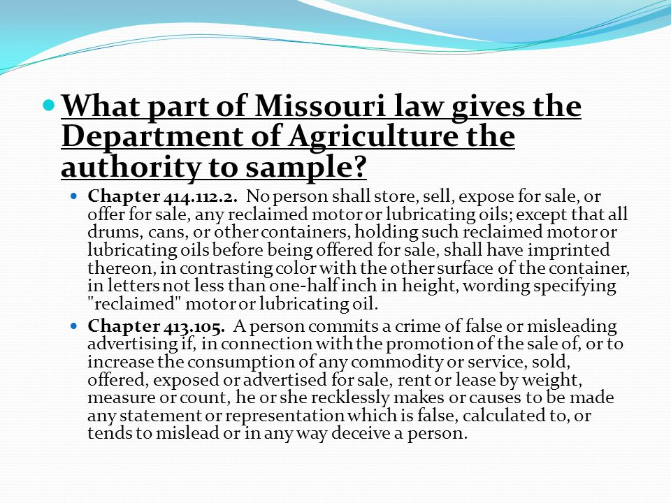 What part of Missouri law gives the Department of Agriculture the authority to sample.