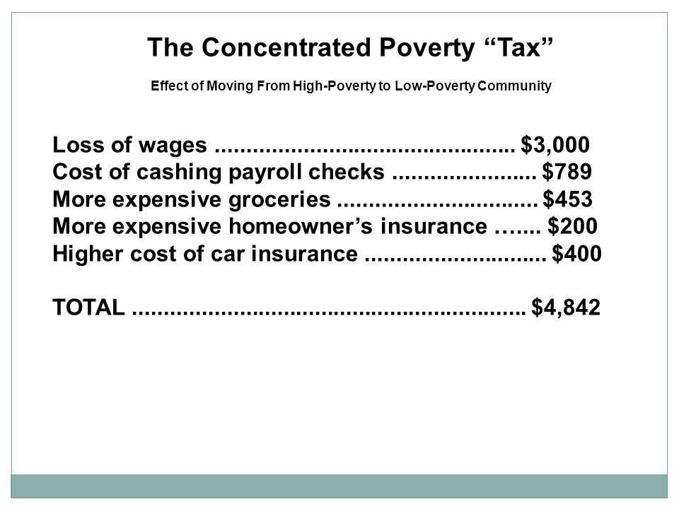 The Concentrated Poverty Tax Effect of Moving From High-Poverty to Low-Poverty Community Loss of wages................................................