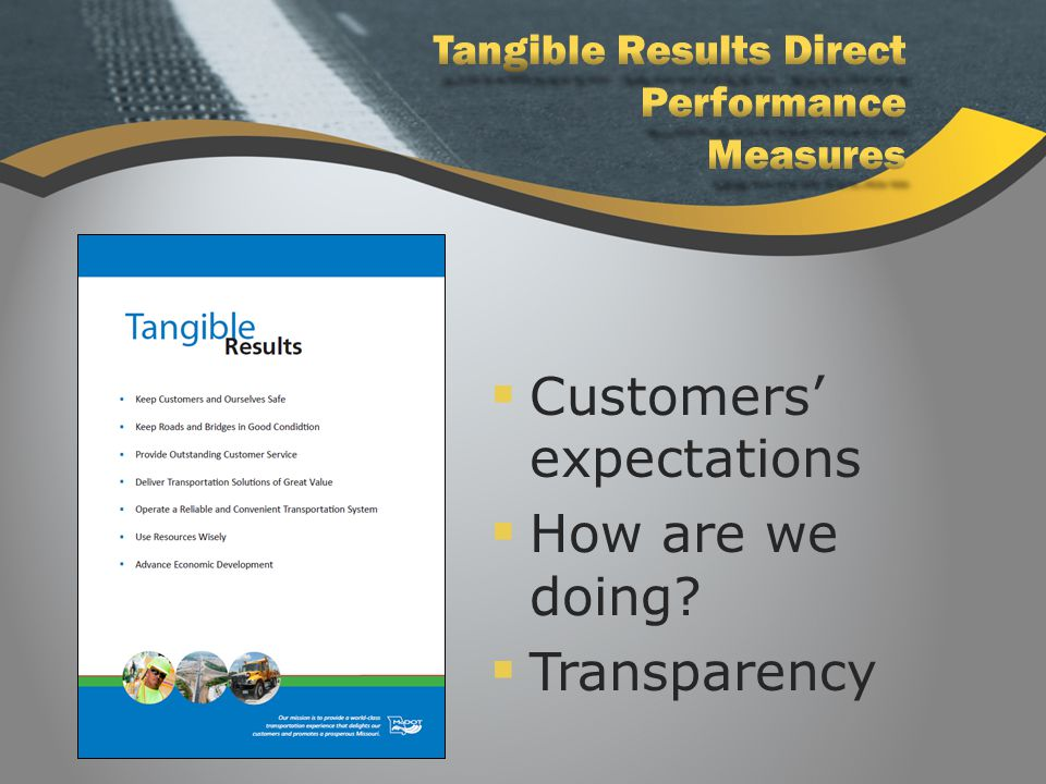  Customers' expectations  How are we doing?  Transparency