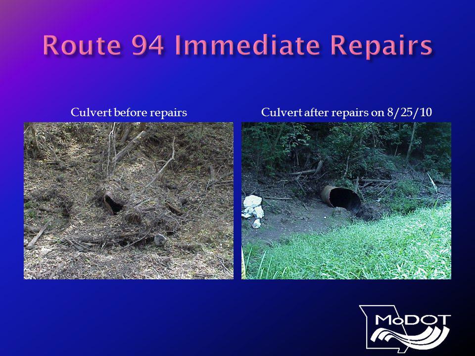 Culvert before repairsCulvert after repairs on 8/25/10