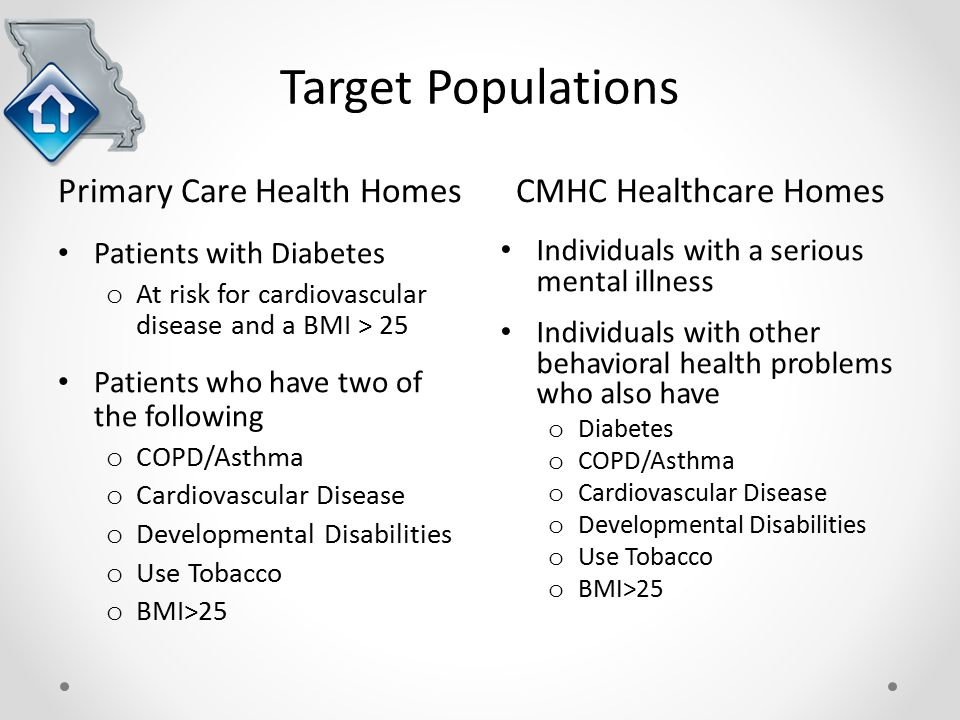 Target Populations Primary Care Health HomesCMHC Healthcare Homes Patients with Diabetes o At risk for cardiovascular disease and a BMI > 25 Patients who have two of the following o COPD/Asthma o Cardiovascular Disease o Developmental Disabilities o Use Tobacco o BMI>25 Individuals with a serious mental illness Individuals with other behavioral health problems who also have o Diabetes o COPD/Asthma o Cardiovascular Disease o Developmental Disabilities o Use Tobacco o BMI>25