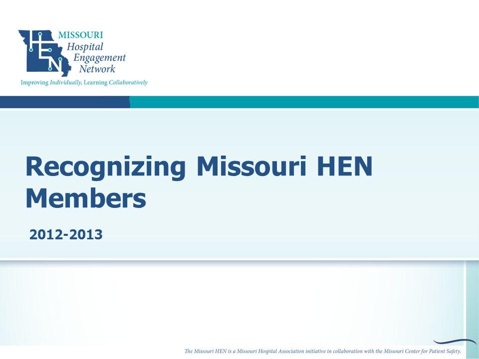 Recognizing Missouri HEN Members 2012-2013
