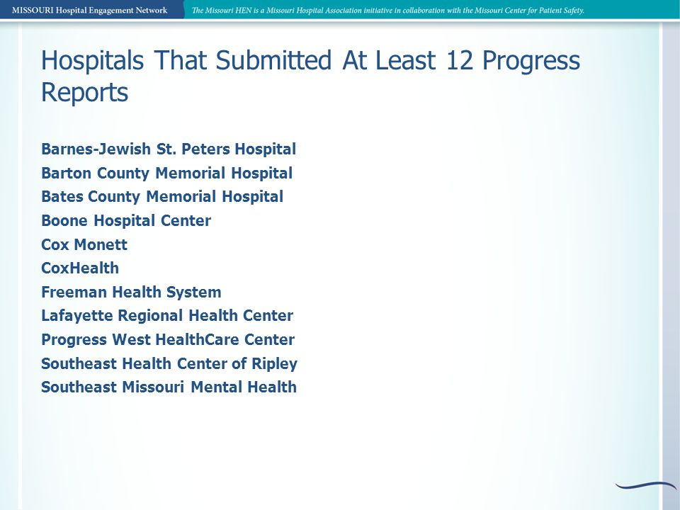 Hospitals That Submitted At Least 12 Progress Reports Barnes-Jewish St.