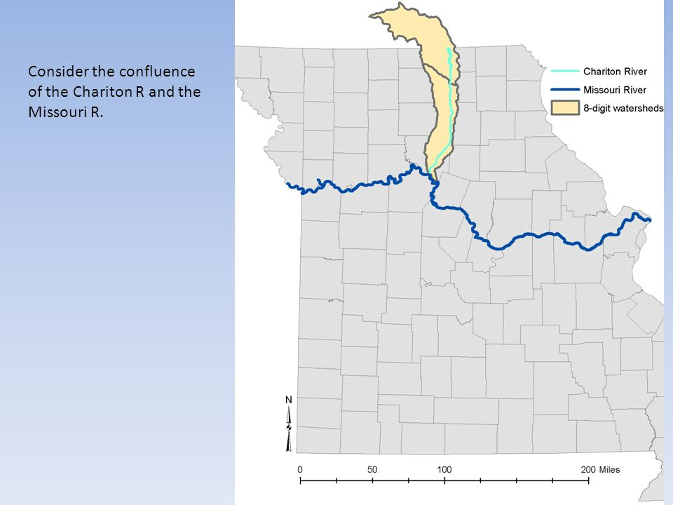 Consider the confluence of the Chariton R and the Missouri R.