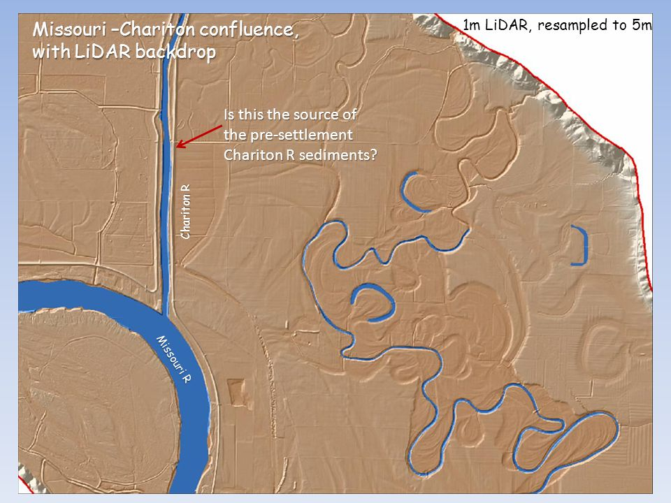 Missouri –Chariton confluence, with LiDAR backdrop Chariton R 1m LiDAR, resampled to 5m Missouri R Is this the source of the pre-settlement Chariton R sediments