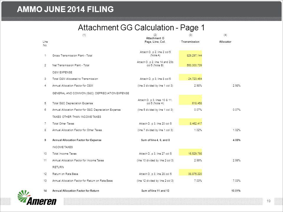 19 AMMO JUNE 2014 FILING Attachment GG Calculation - Page 1 (1)(2)(3)(4) Attachment O LinePage, Line, Col.TransmissionAllocator No.
