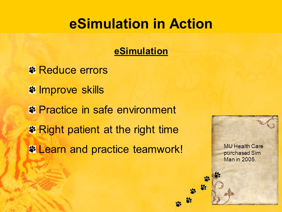 eSimulation in Action eSimulation Reduce errors Improve skills Practice in safe environment Right patient at the right time Learn and practice teamwork.