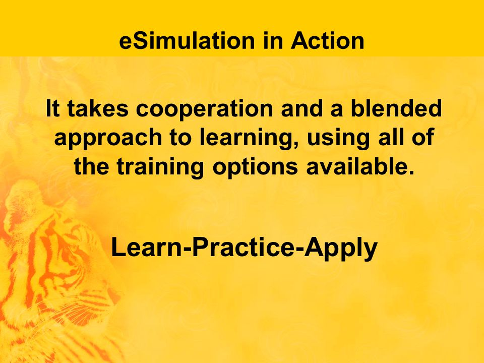 eSimulation in Action It takes cooperation and a blended approach to learning, using all of the training options available.
