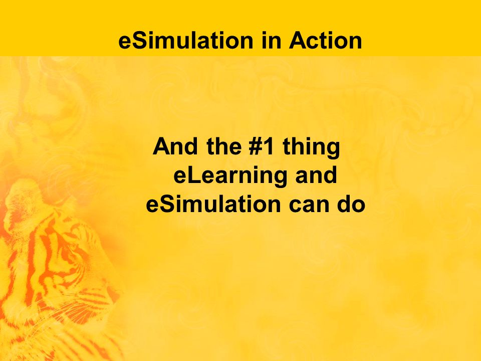 eSimulation in Action And the #1 thing eLearning and eSimulation can do