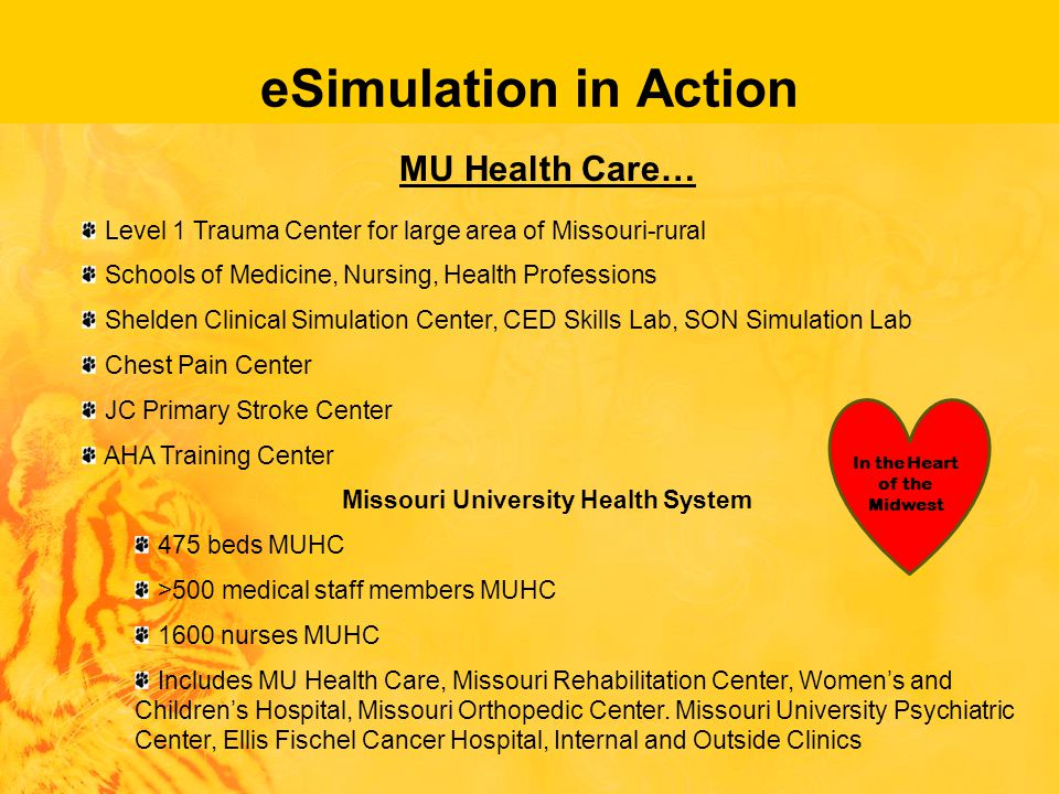 In the Heart of the Midwest eSimulation in Action MU Health Care… Level 1 Trauma Center for large area of Missouri-rural Schools of Medicine, Nursing, Health Professions Shelden Clinical Simulation Center, CED Skills Lab, SON Simulation Lab Chest Pain Center JC Primary Stroke Center AHA Training Center Missouri University Health System 475 beds MUHC >500 medical staff members MUHC 1600 nurses MUHC Includes MU Health Care, Missouri Rehabilitation Center, Women's and Children's Hospital, Missouri Orthopedic Center.