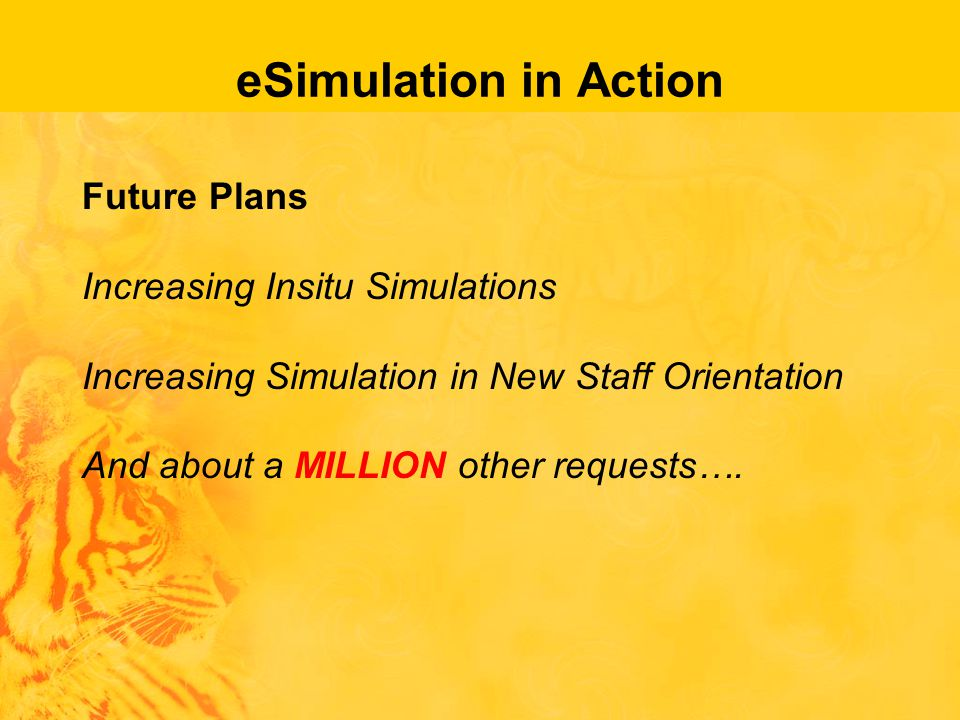 eSimulation in Action Future Plans Increasing Insitu Simulations Increasing Simulation in New Staff Orientation And about a MILLION other requests….