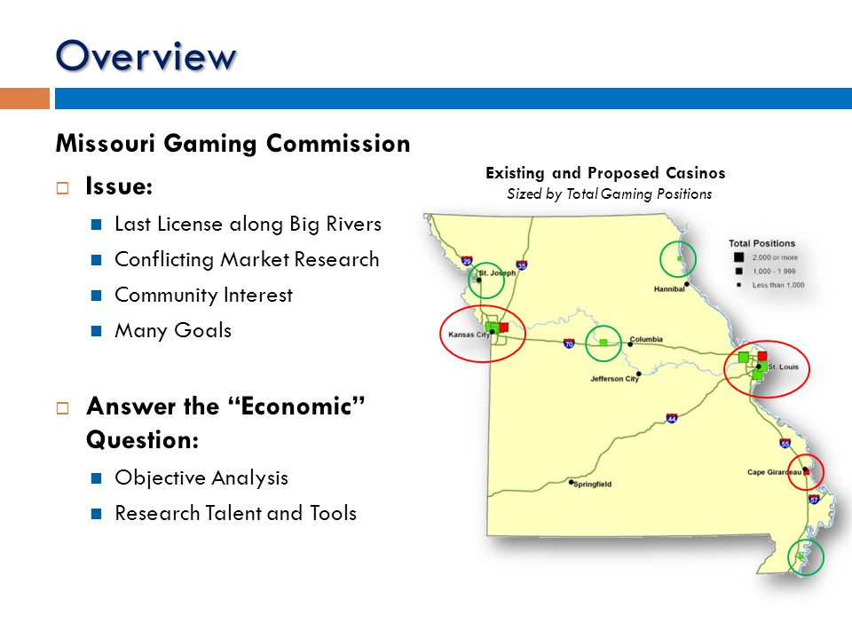 Overview Missouri Gaming Commission  Issue: Last License along Big Rivers Conflicting Market Research Community Interest Many Goals  Answer the Economic Question: Objective Analysis Research Talent and Tools Existing and Proposed Casinos Sized by Total Gaming Positions
