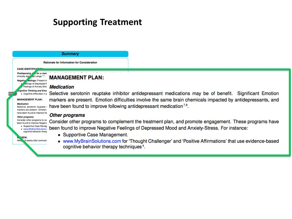 Supporting Treatment