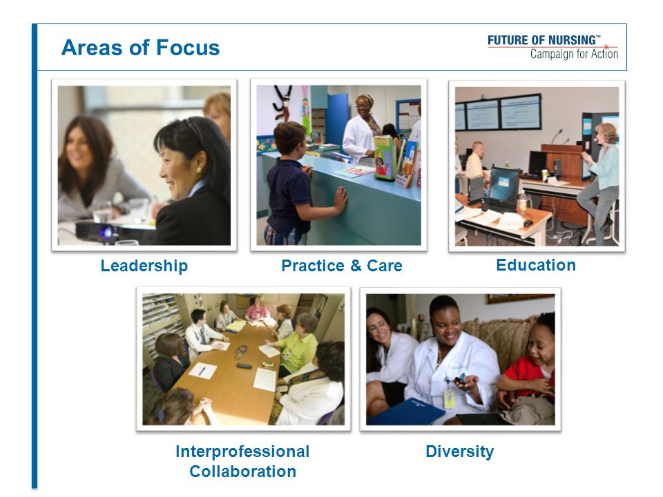 Areas of Focus Leadership Practice & Care Education Interprofessional Collaboration Diversity