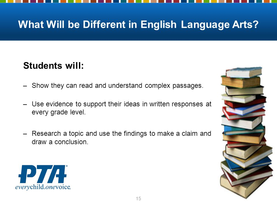 What Will be Different in English Language Arts.