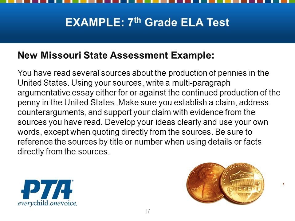17 New Missouri State Assessment Example: You have read several sources about the production of pennies in the United States.