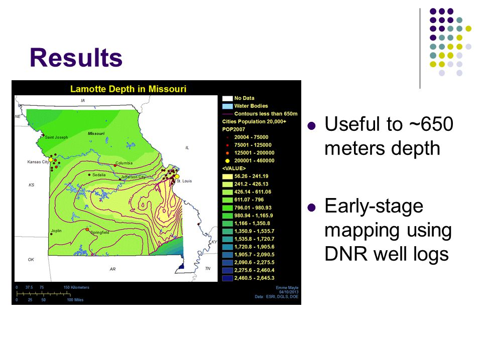 Useful to ~650 meters depth Early-stage mapping using DNR well logs