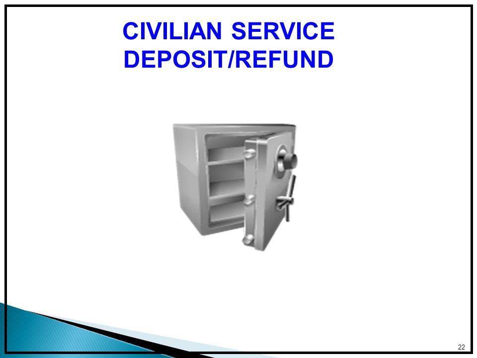 22 CIVILIAN SERVICE DEPOSIT/REFUND