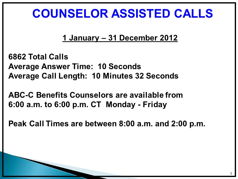 5 1 January – 31 December 2012 6862 Total Calls Average Answer Time: 10 Seconds Average Call Length: 10 Minutes 32 Seconds ABC-C Benefits Counselors are available from 6:00 a.m.