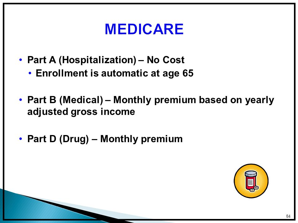 Part A (Hospitalization) – No Cost Enrollment is automatic at age 65 Part B (Medical) – Monthly premium based on yearly adjusted gross income Part D (Drug) – Monthly premium 84