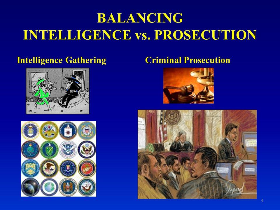 BALANCING INTELLIGENCE vs. PROSECUTION Intelligence GatheringCriminal Prosecution 4