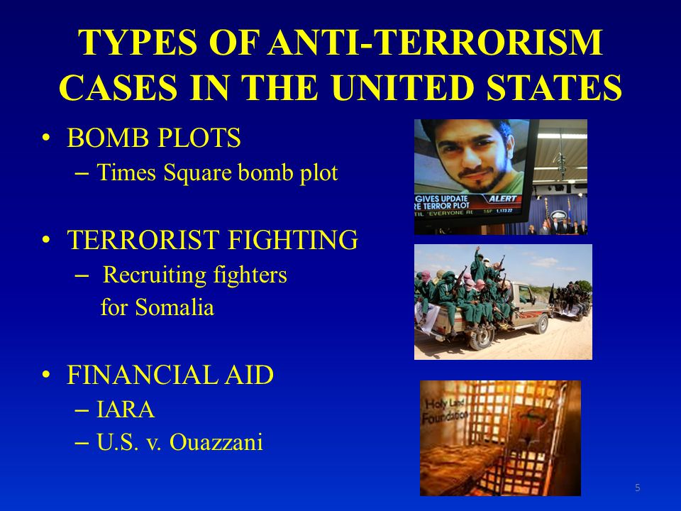 TYPES OF ANTI-TERRORISM CASES IN THE UNITED STATES BOMB PLOTS – Times Square bomb plot TERRORIST FIGHTING – Recruiting fighters for Somalia FINANCIAL