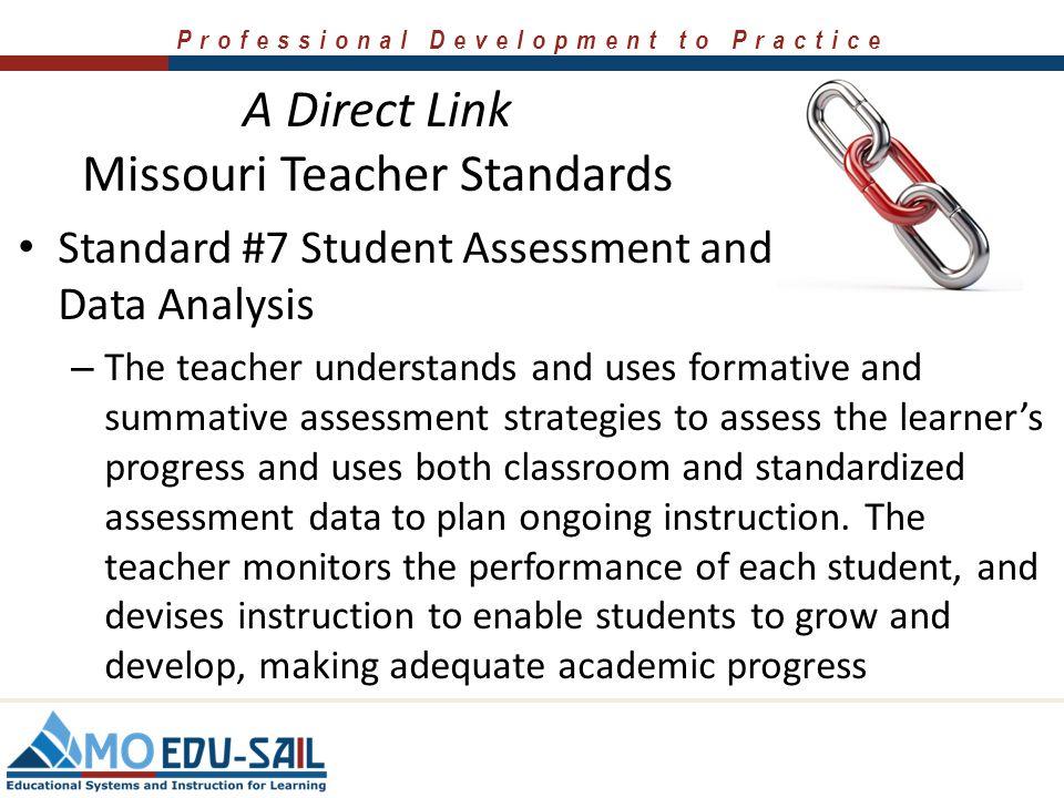 Professional Development to Practice A Direct Link Missouri Teacher Standards Standard #5 Positive Classroom Environment – The teacher uses an underst