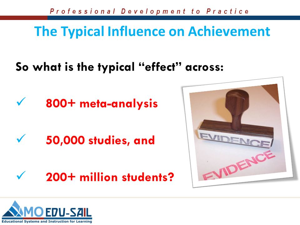 """Professional Development to Practice Meta-analysis & Effect Size  The vast majority of innovations or educational strategies can be said to """"work"""" be"""