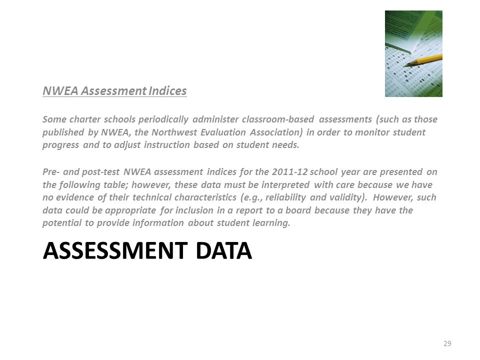 ASSESSMENT DATA NWEA Assessment Indices Some charter schools periodically administer classroom-based assessments (such as those published by NWEA, the Northwest Evaluation Association) in order to monitor student progress and to adjust instruction based on student needs.