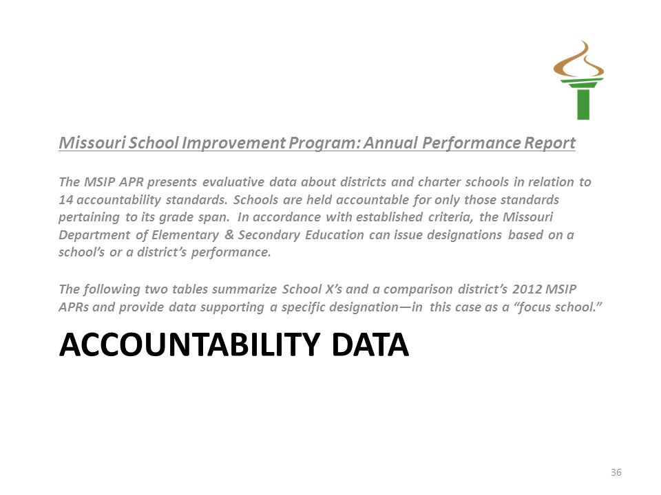ACCOUNTABILITY DATA Missouri School Improvement Program: Annual Performance Report The MSIP APR presents evaluative data about districts and charter schools in relation to 14 accountability standards.