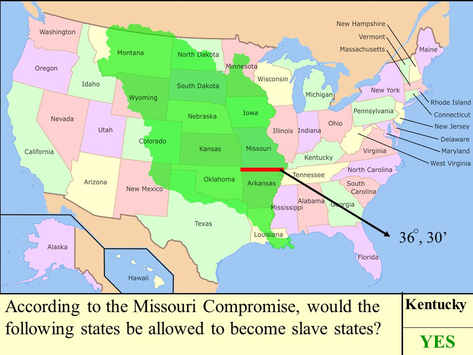 According to the Missouri Compromise, would the following states be allowed to become slave states.