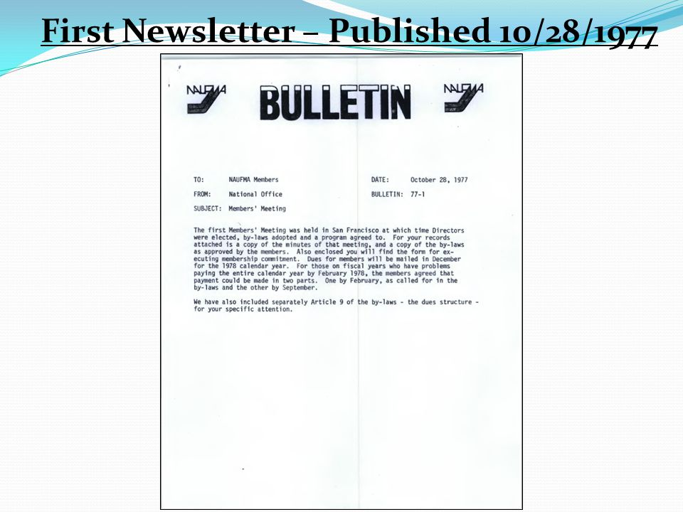 First Newsletter – Published 10/28/1977