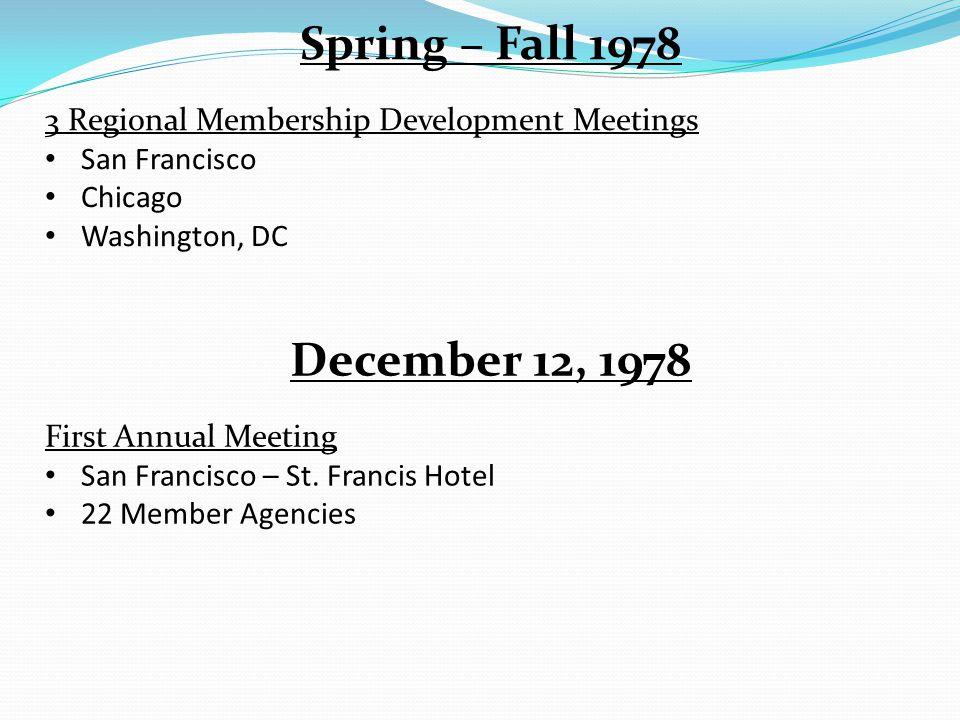 Spring – Fall 1978 3 Regional Membership Development Meetings San Francisco Chicago Washington, DC December 12, 1978 First Annual Meeting San Francisco – St.