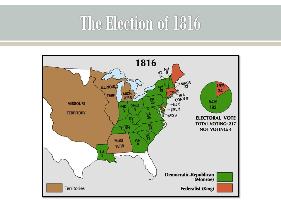  Missouri asked Congress to enter the union in 1819  Led to the debate over the Tallmadge Amendment calling for the end of slavery in Missouri in a generation o No more slaves could be brought into Missouri o Gradual emancipation of children born to slave parents already there.