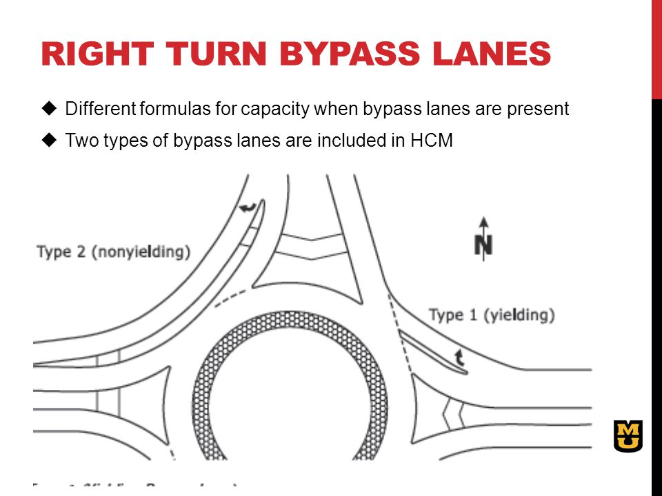 RIGHT TURN BYPASS LANES  Different formulas for capacity when bypass lanes are present  Two types of bypass lanes are included in HCM