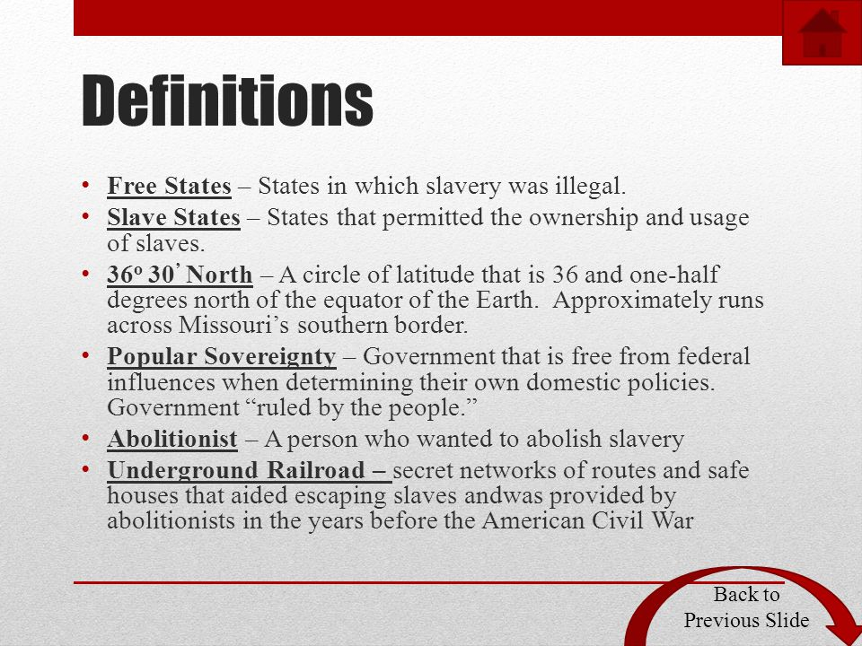 Definitions Free States – States in which slavery was illegal.